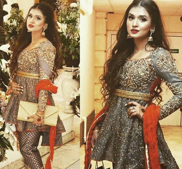 Indian and Pakistani Frock Designs Gray Fancy Wedding Wear Frock with Waist Belt