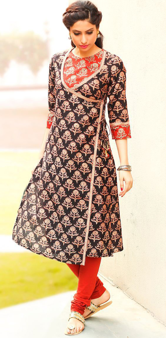 Angrakha Style Dress Designs For Women casual-wear-kurta-for-women
