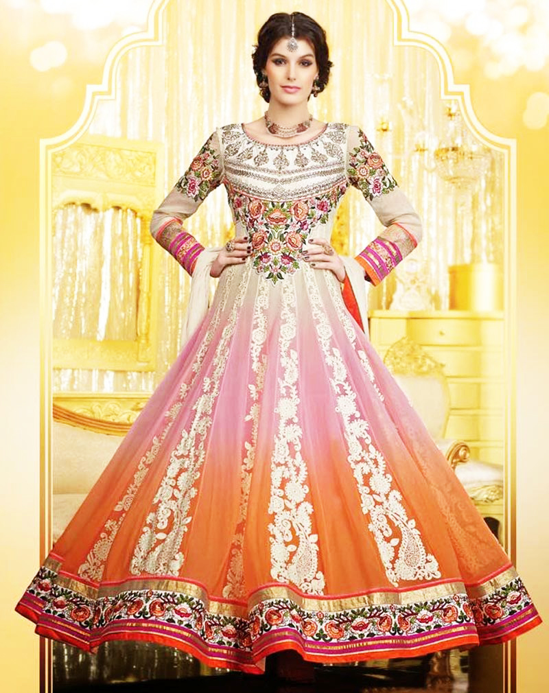 fancy indian anarkali dress for mehndi brides