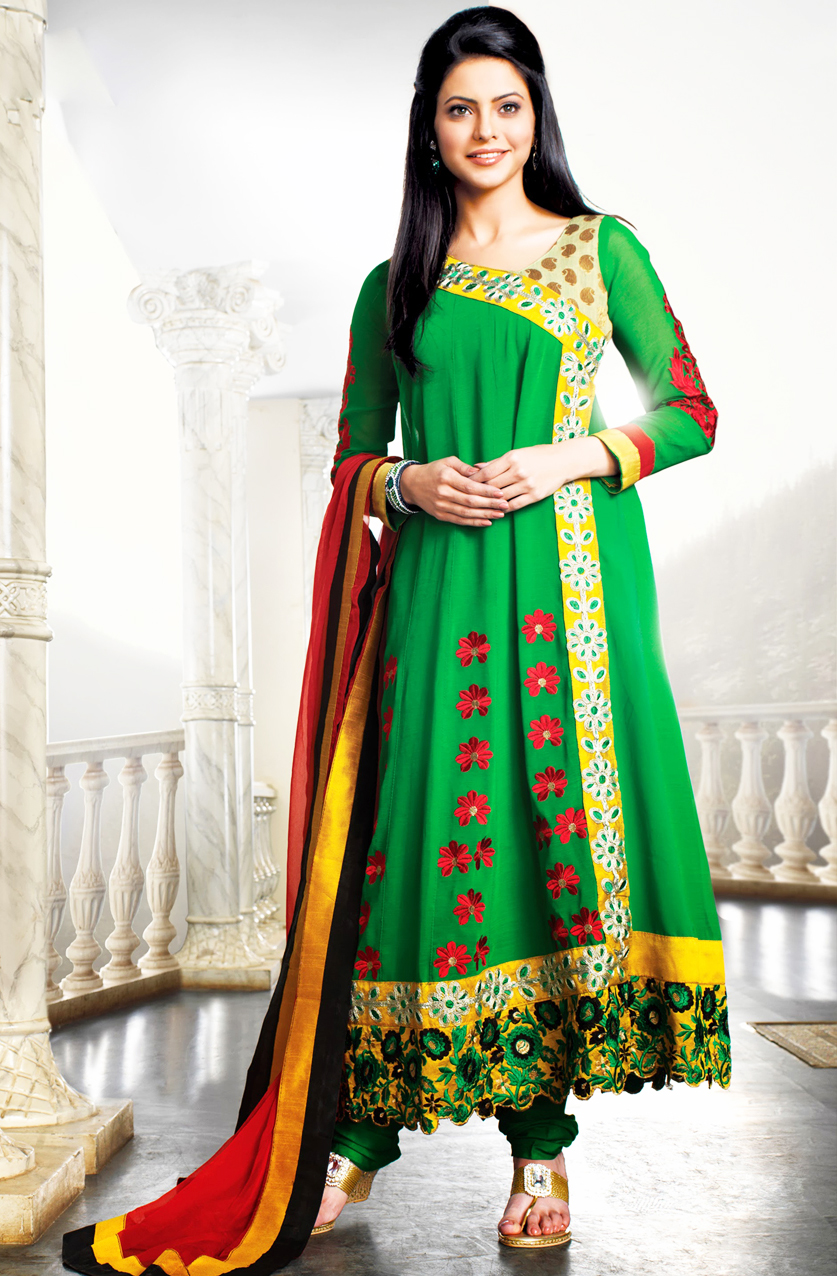 Angrakha Style Dress Designs For Women green-frock