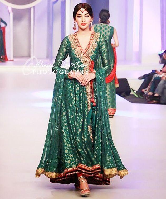 Angrakha Style Dress Designs For Women indian-style-long-flared-angrakha-frock-for-brides