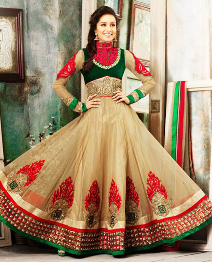 long flared indian anarkali suit for party wear