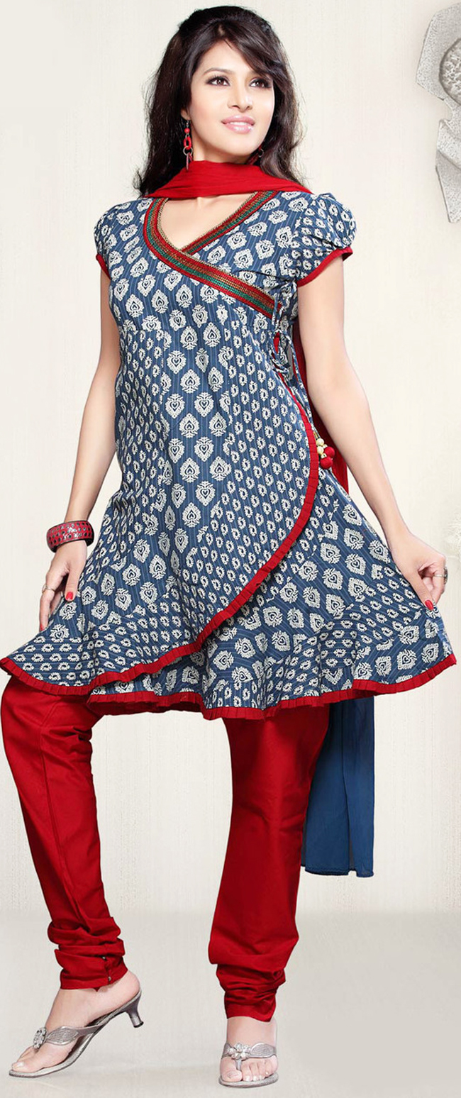 Angrakha Style Dress Designs For Women round-bottom-frock-with-churidar-pajama