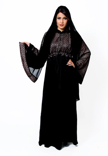black and gray abaya style for girls