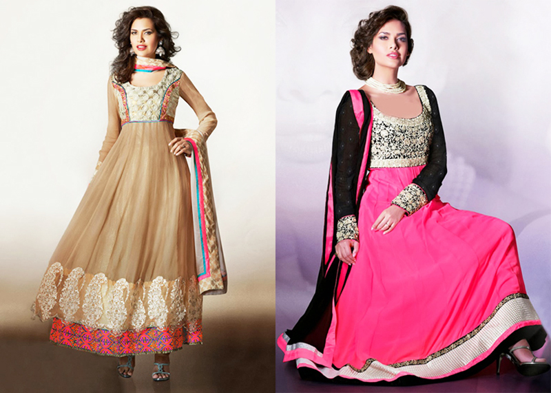 party wear brown and pink long anarkali frocks