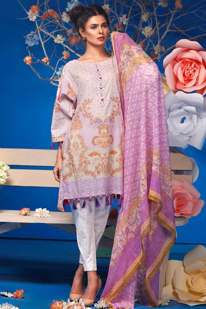 3PC Chiffon Lawn Purple-