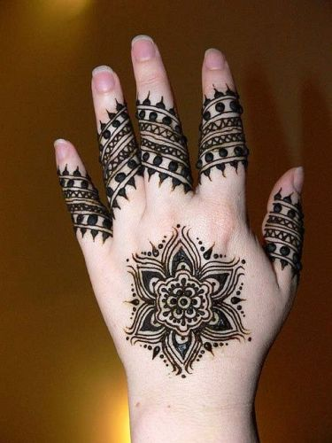 Simple Tikka Style Black Henna Design