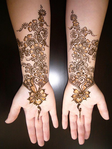 Floral Bridal Mehndi Design for Wedding