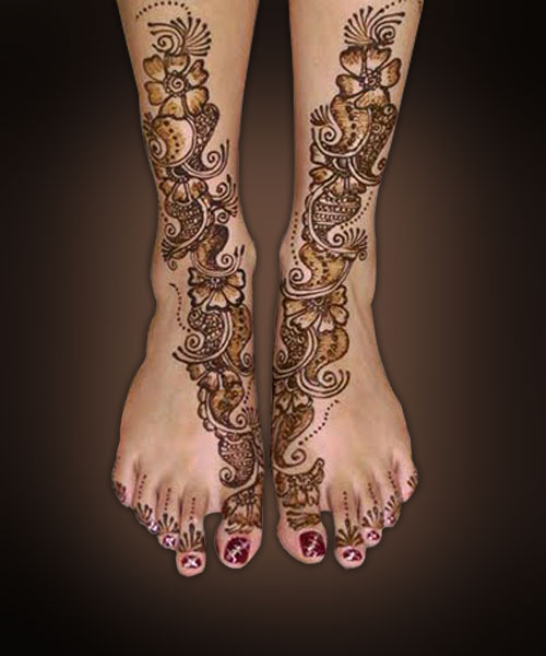 Bridal Gorgeous Feet Henna Design