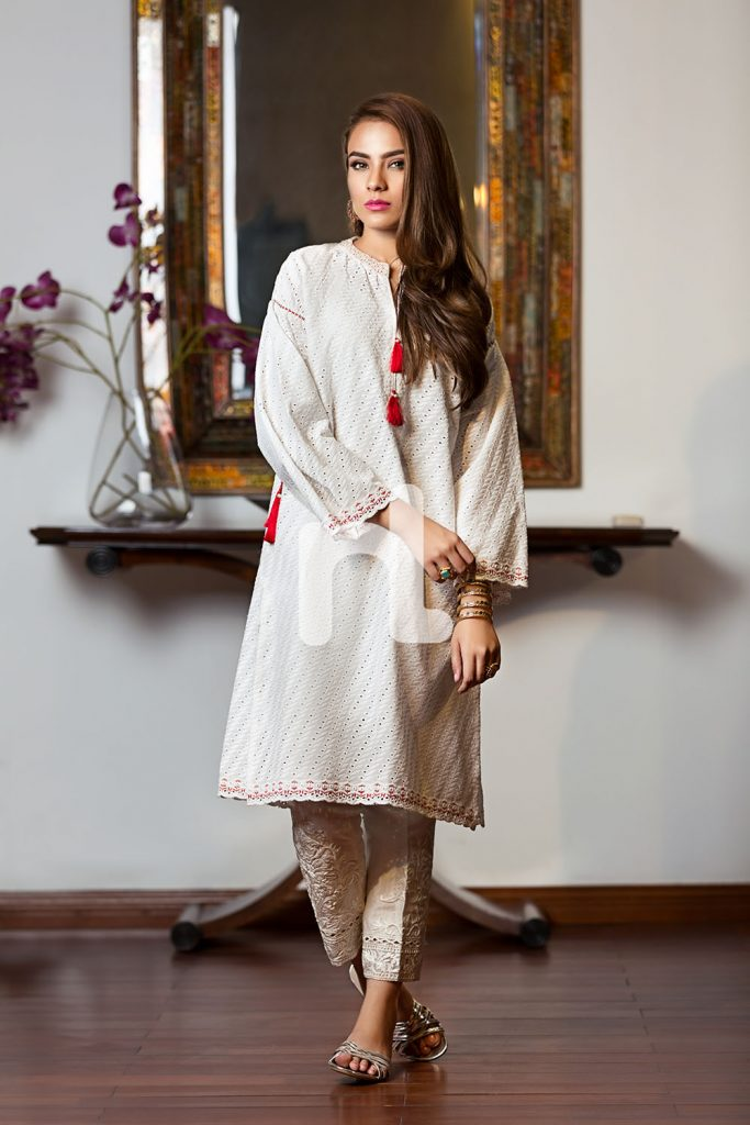Grey Chickankari Nishat Linen Luxury Formal 2017