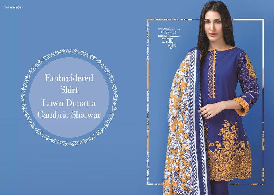 Navy Blue Floral Satrangi Collection 2017