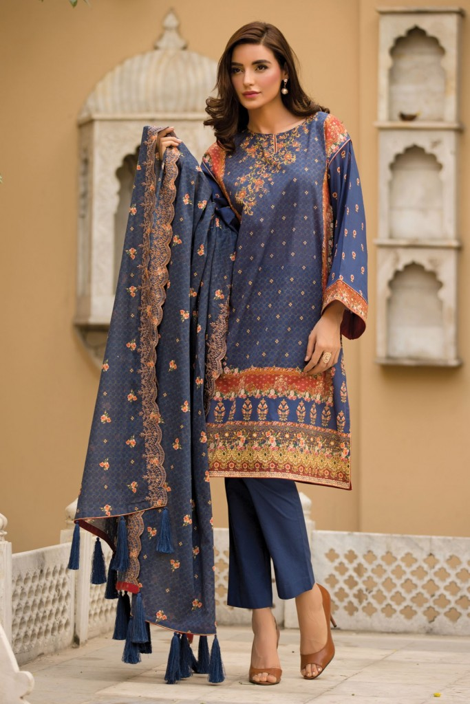 Deep Blue Tassel Eid Dress By Kayseria 2017