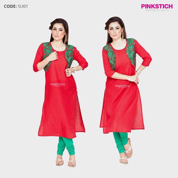 Green Koti Shirt By Pinkstich For Eid