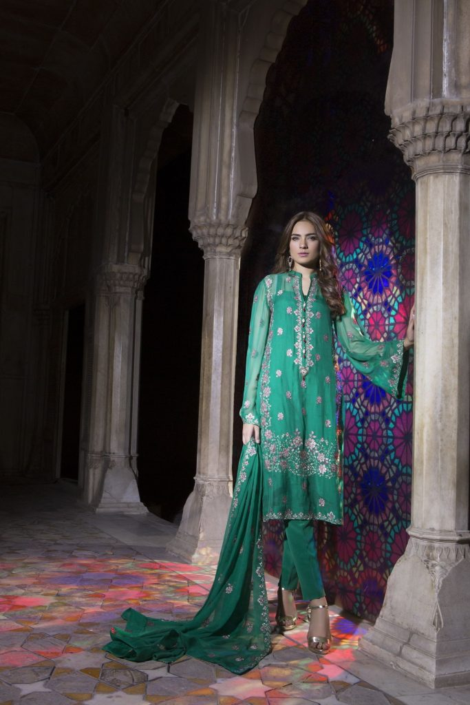 Sea Green Mahrani Bareeze Eid Collection
