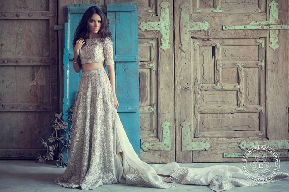 ElanIvory Crop Top Wedding Lehenga by Elan