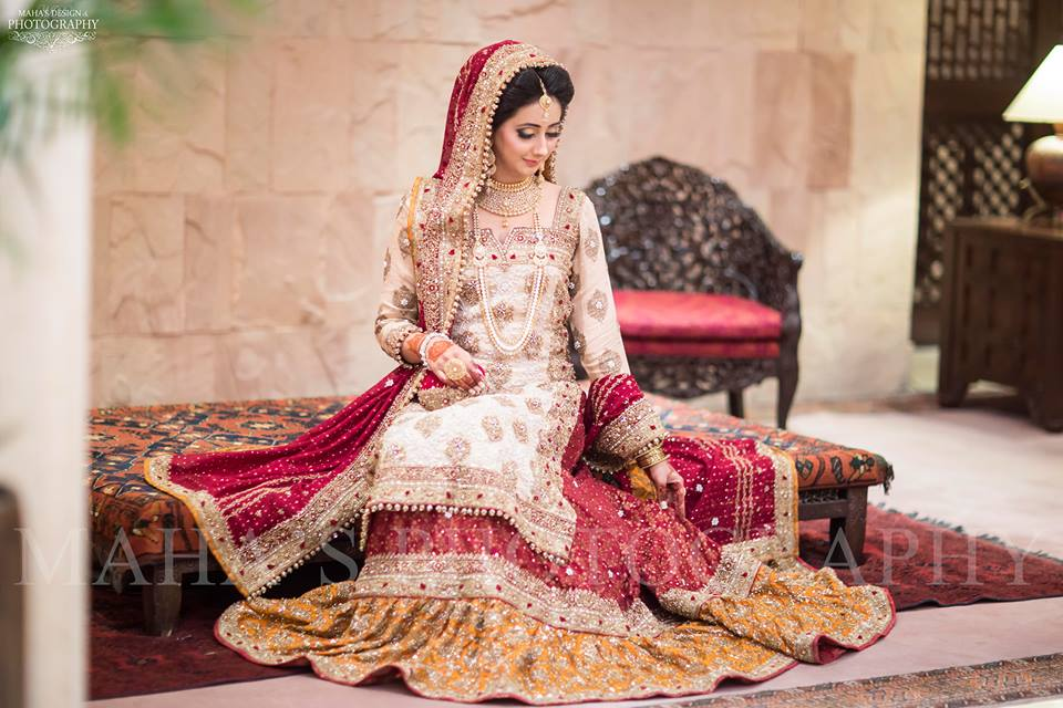 Bridal Beige and Red Sharara Dress for Barat