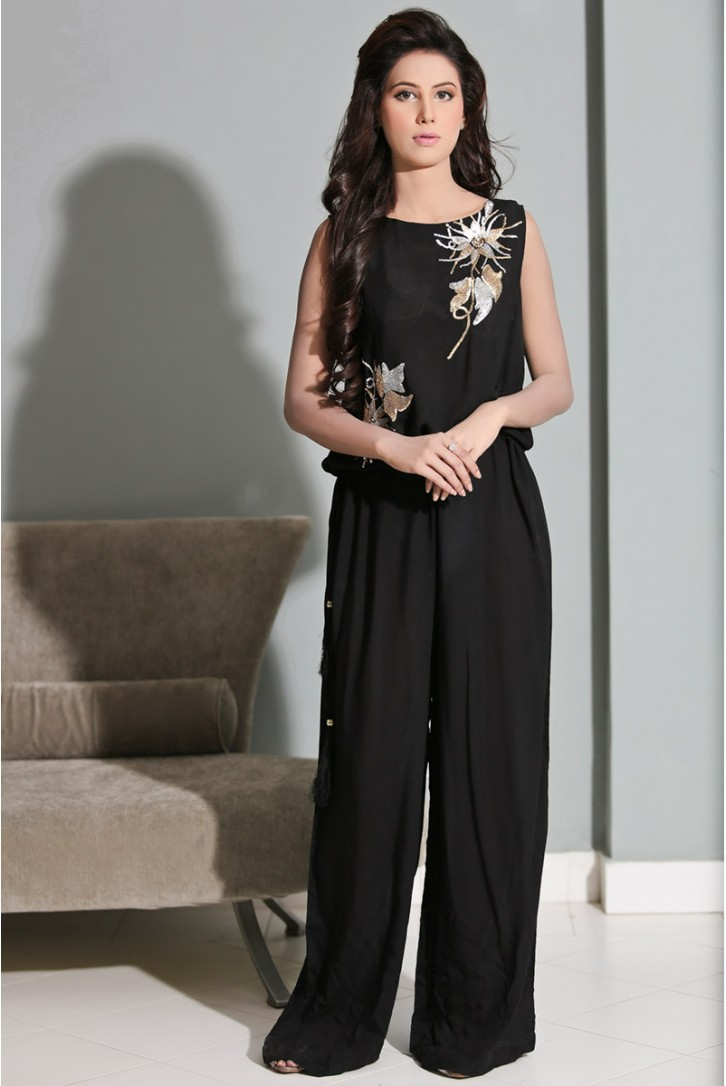 Black Jumpsuit for evening wear by Maria B 2016