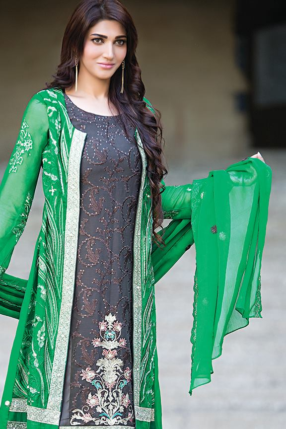 green casual wear gown style dress