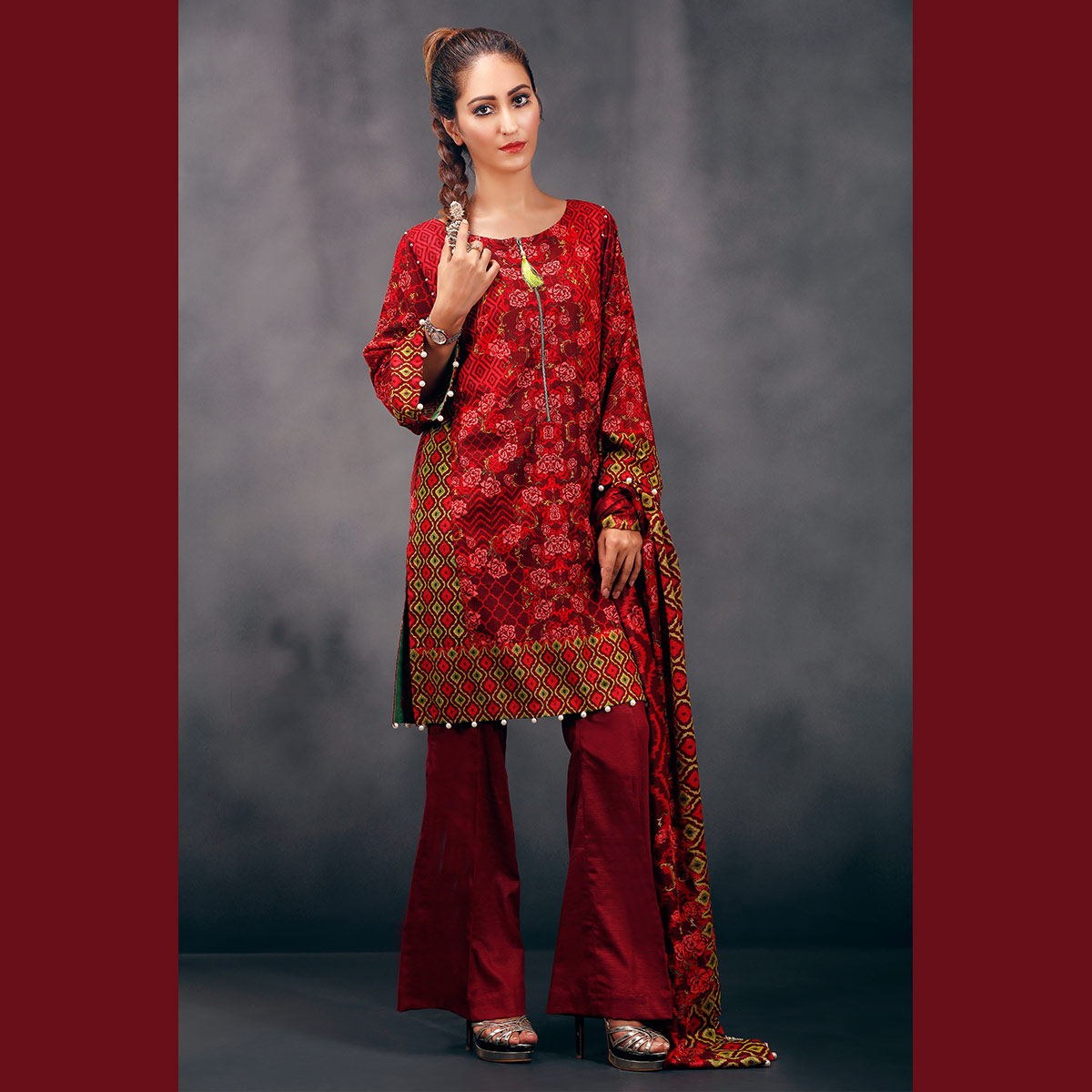 Red khaddar suit by warda for fall