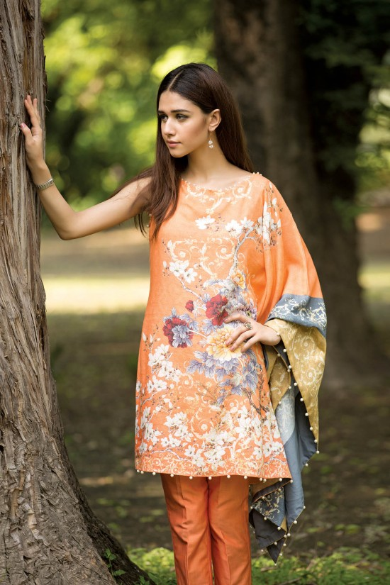 orange printed suit for winters 2016 by kayseria