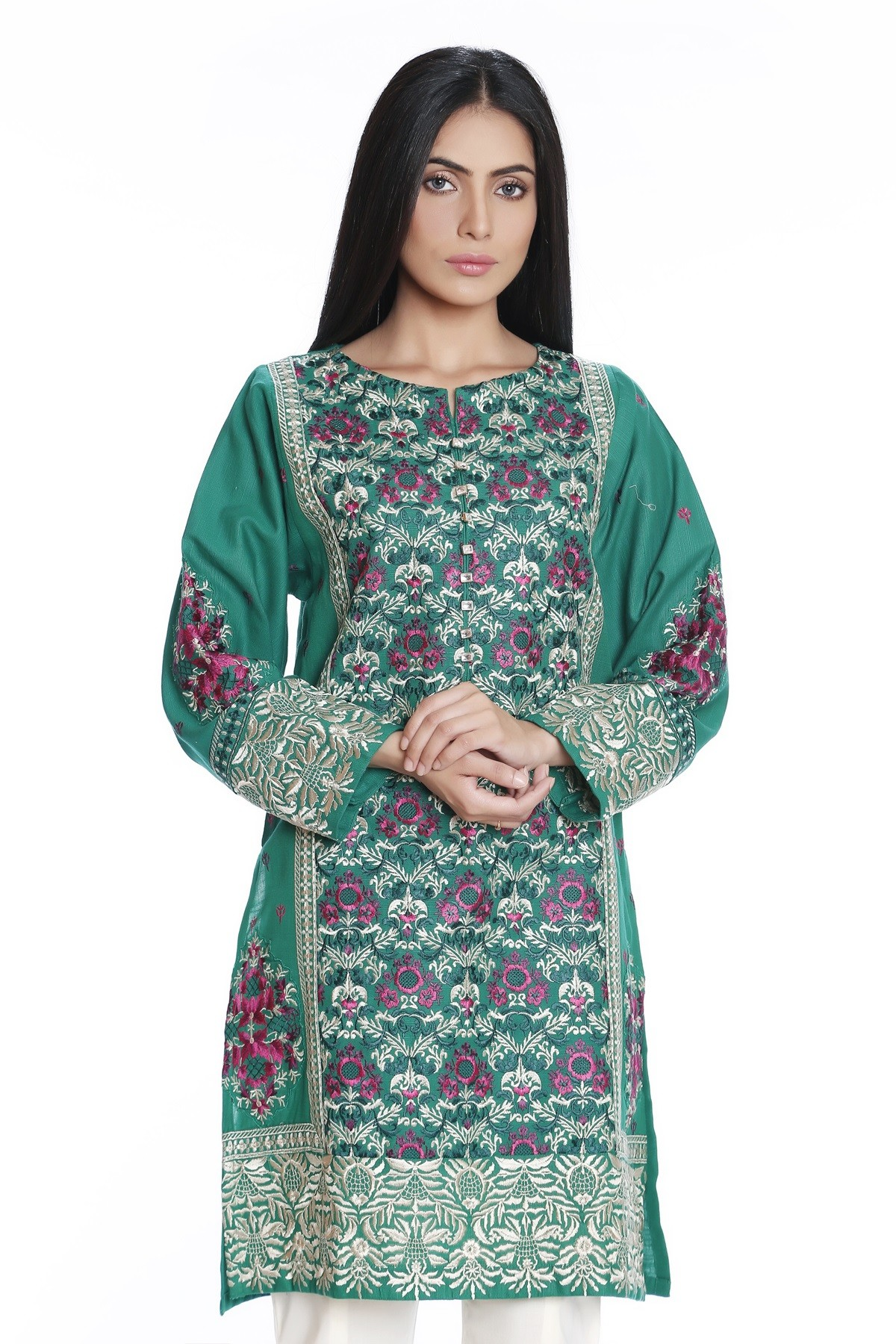 Green embroidered shirt by mausummery latest winter collection