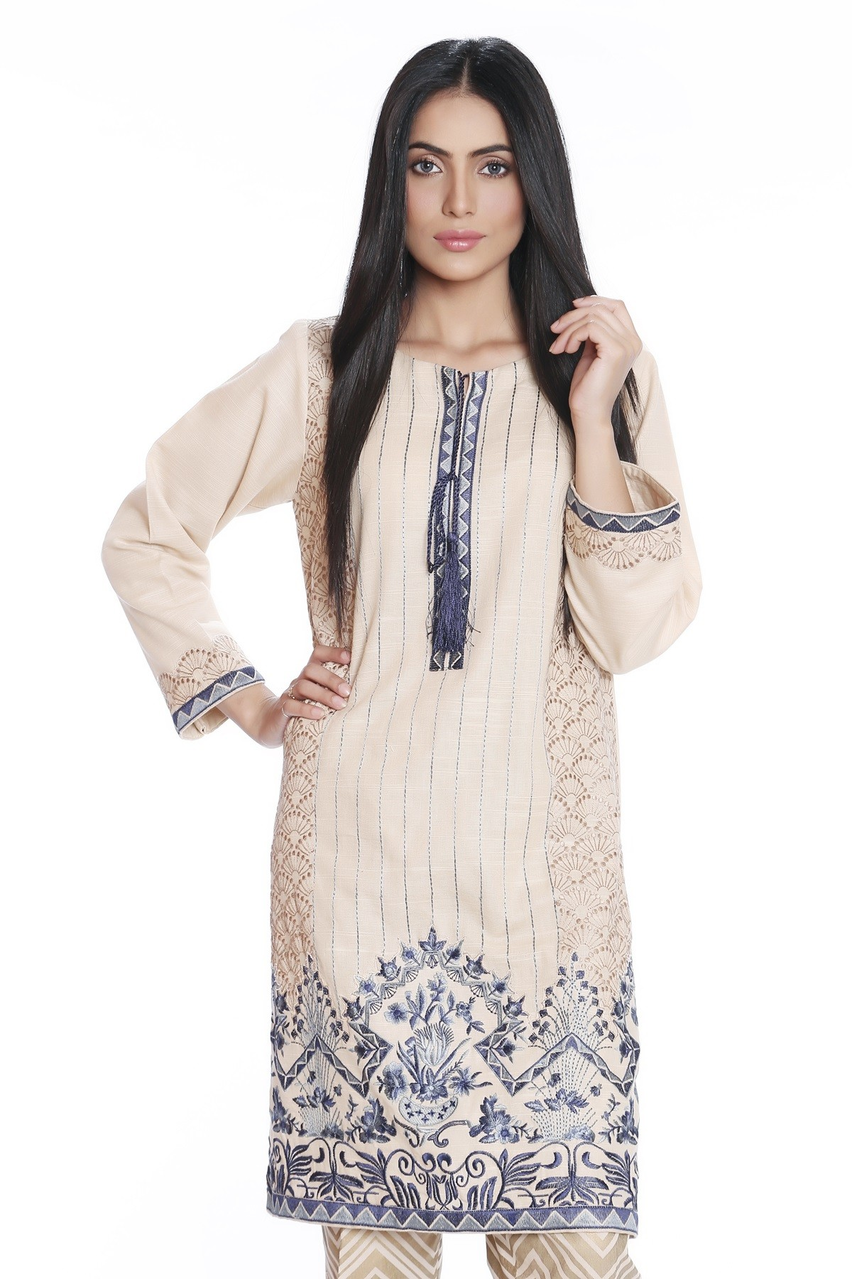 Blue embroidered shirt by mausummery latest winter collection