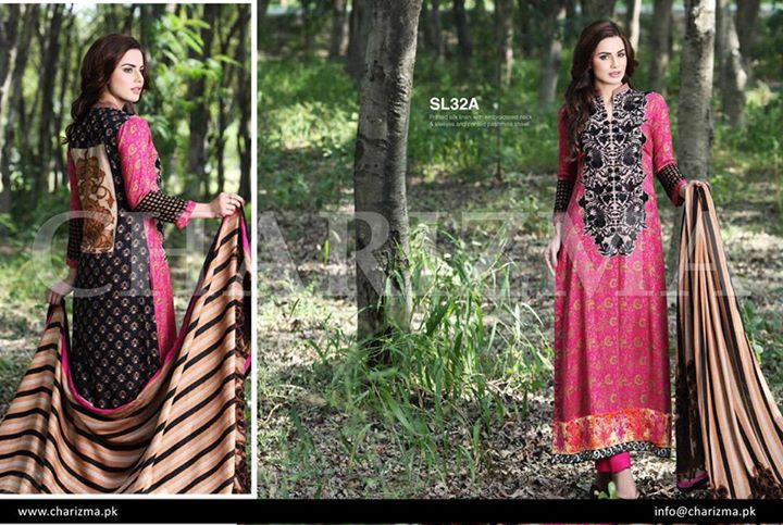 Pink and black dress by charizma for winters