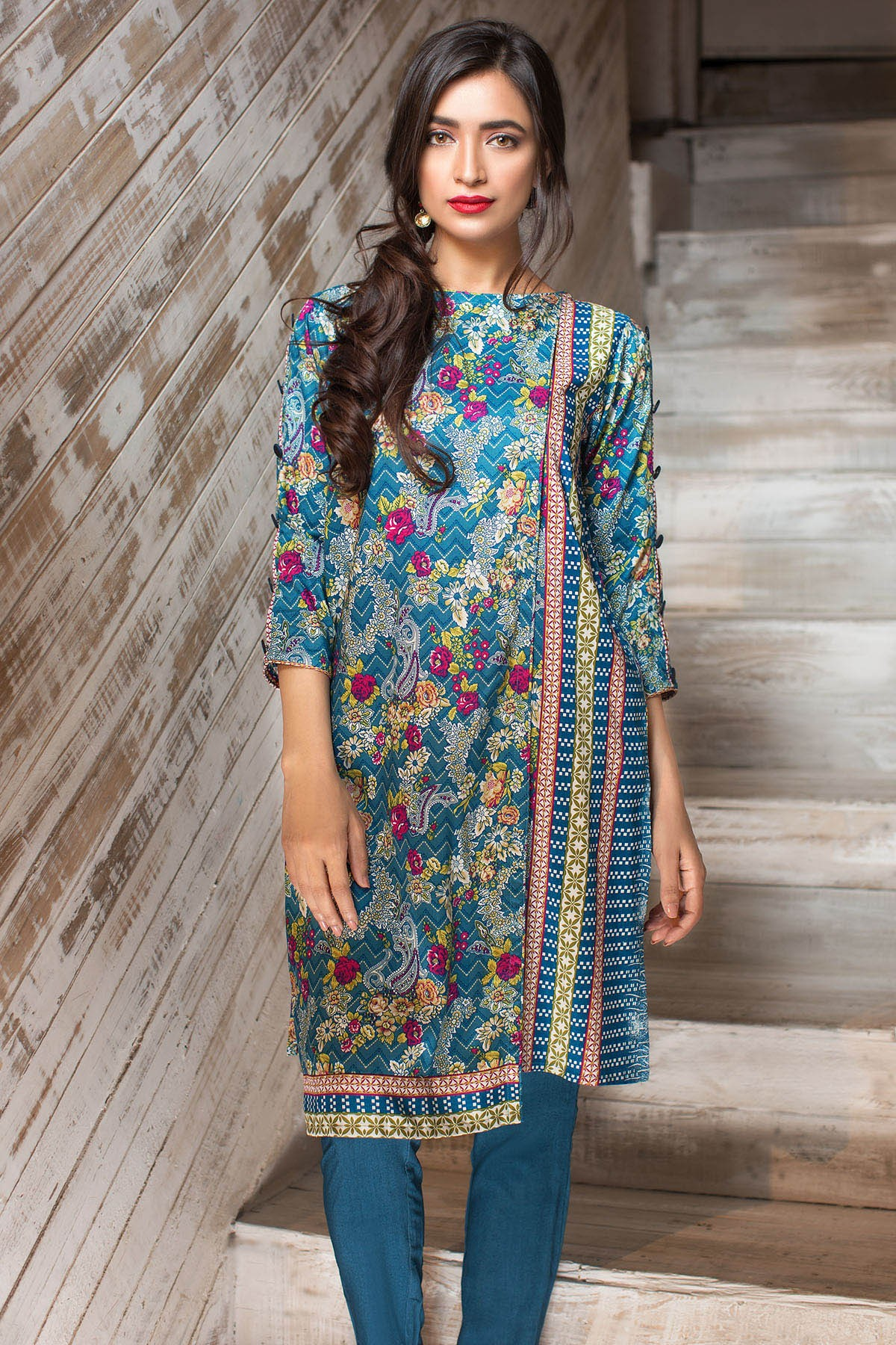Blue floral printed dress by khaadi for winters