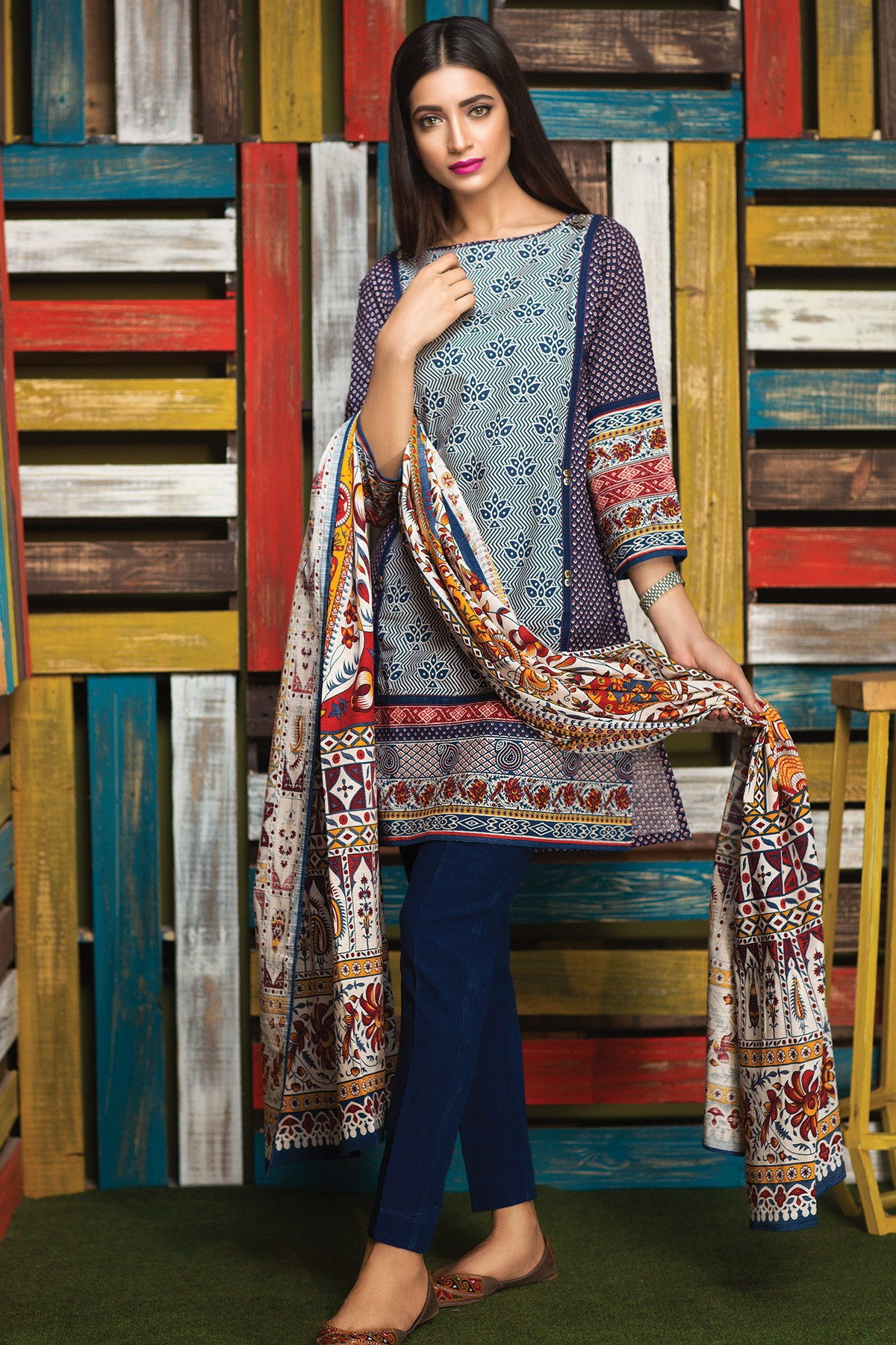 Blue printed dress by khaadi for winter