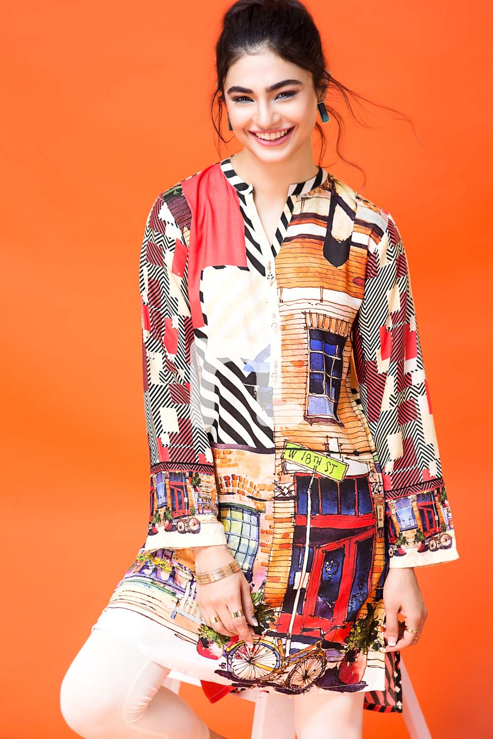 Colorful shirt by nishat for winter wear pret collection
