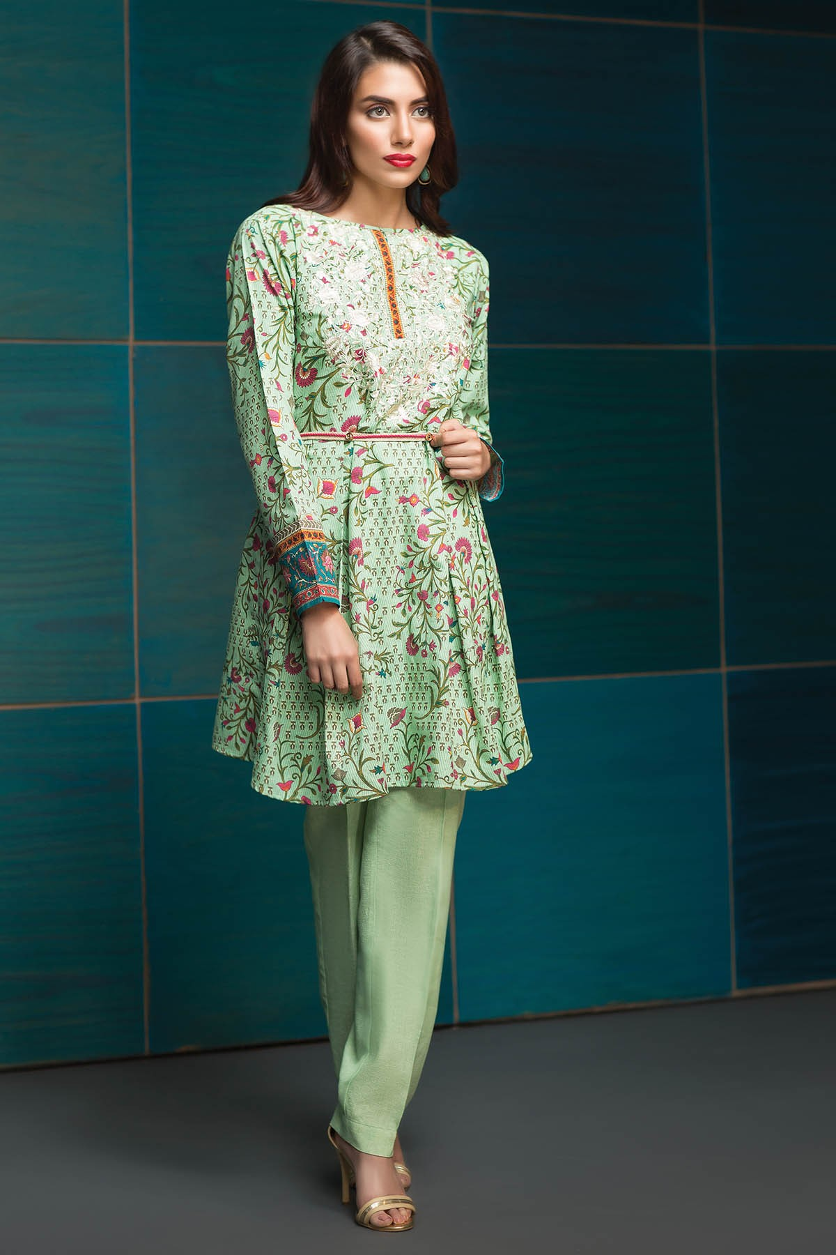 Embroidered Mint dress by khaadi for winter