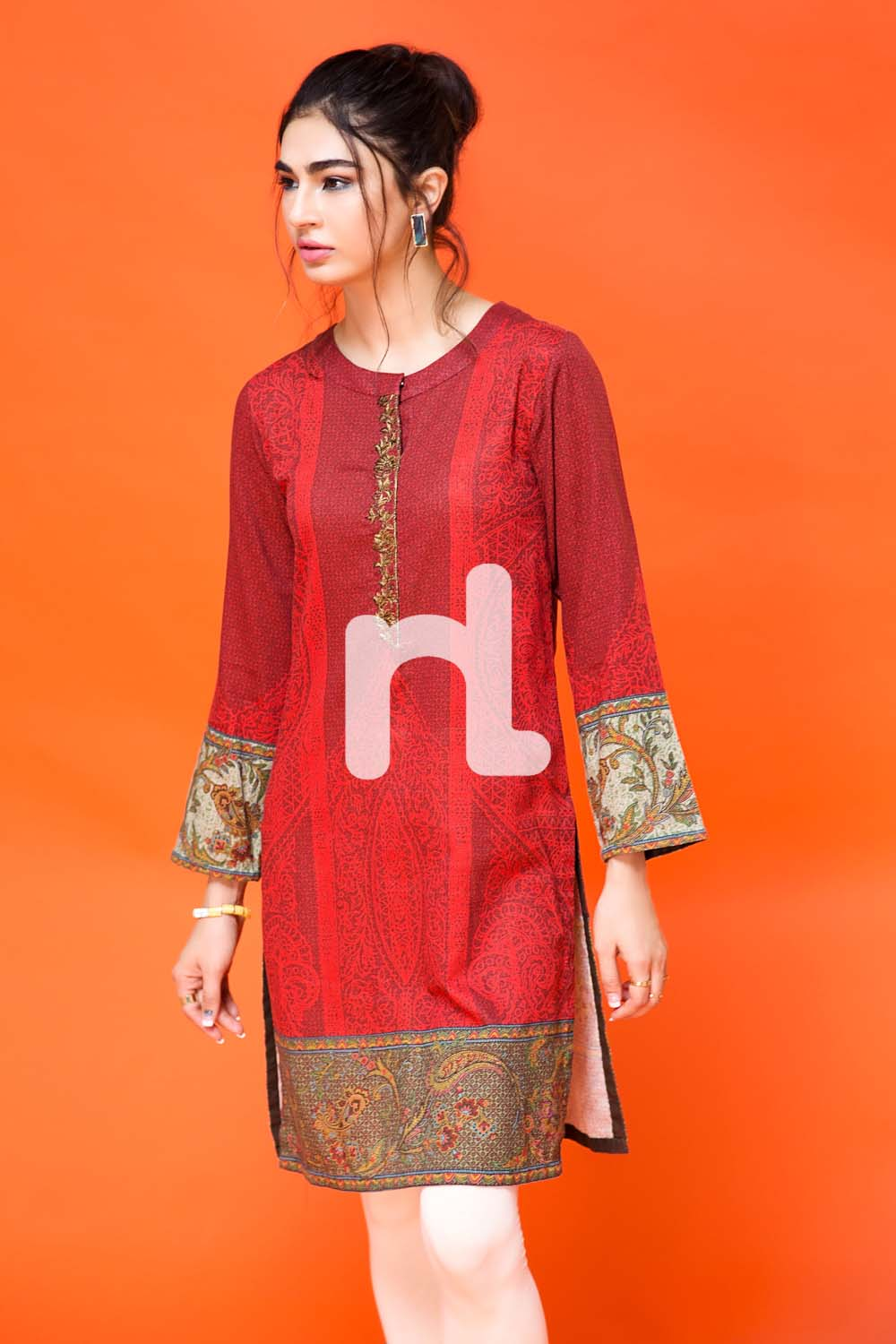 red pret wear by nishat for fall