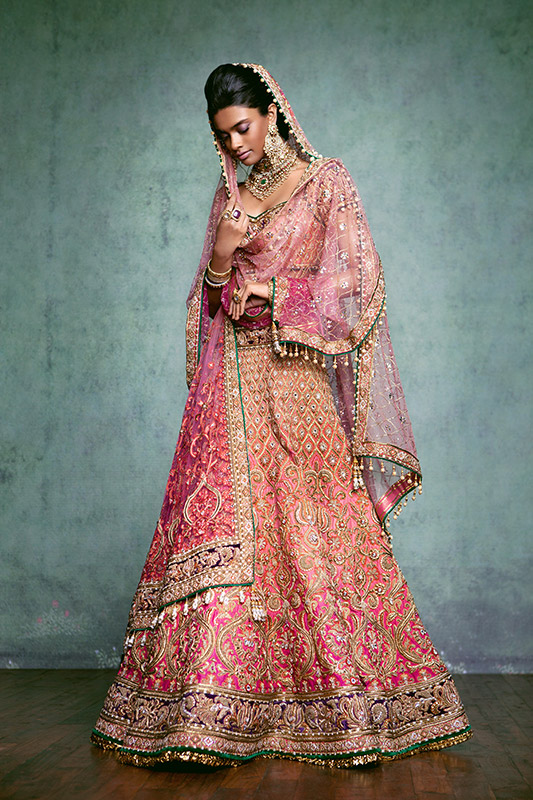 Indian Lehenga Choli Designs For Wedding embroidered Pink by Tarun Tahiliani