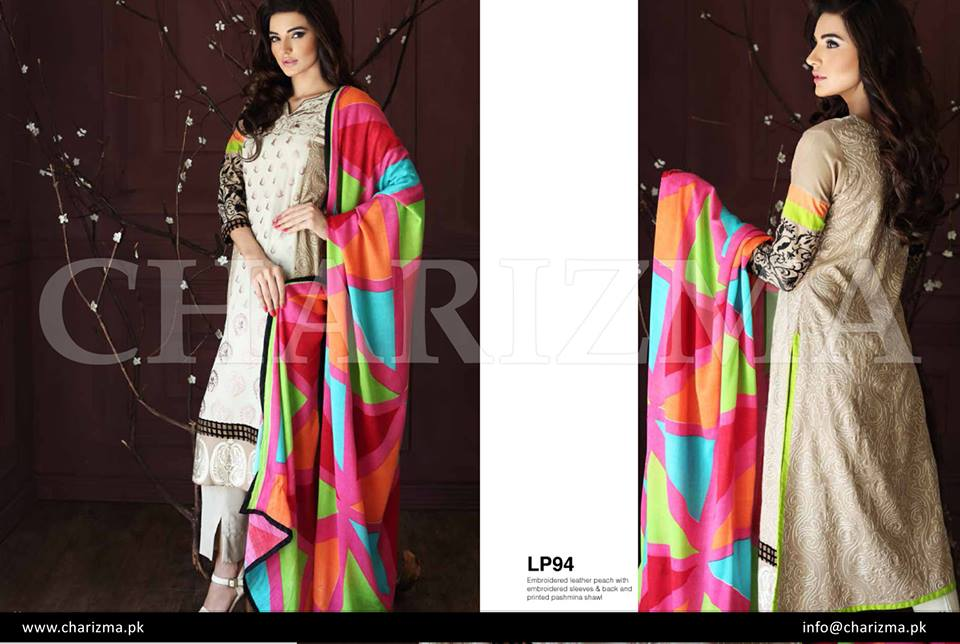 Classy off white dress by charizma for winters