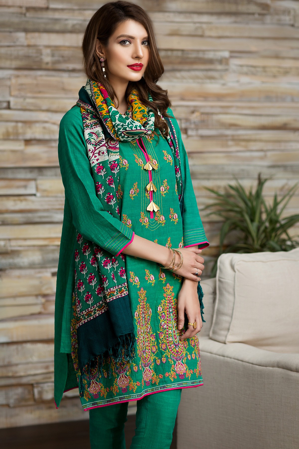 Green khaddar dress by khaadi winter collection