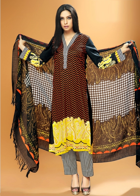 Black Zig Zag Print Zeniya Winter Shawl Collection