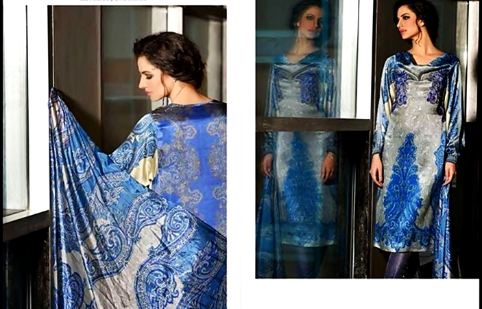 Blue Attire by Sobia Nazir Elegant Party Wear Silk Dress Collection 2017