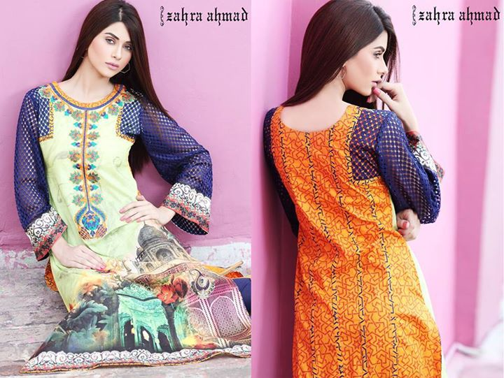 digital printed dress for winter by zahra ahmad