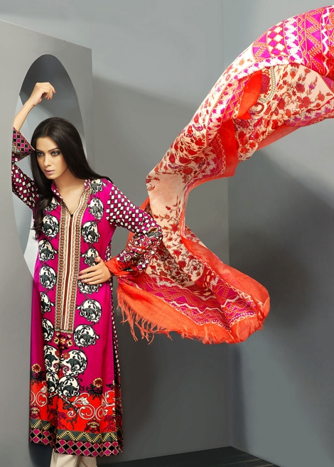 Pink and Orange Woolen Shawl Dress by Zeniya Collection