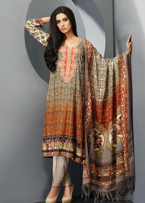 Brown Printed Zeniya Winter Dress with Shawl