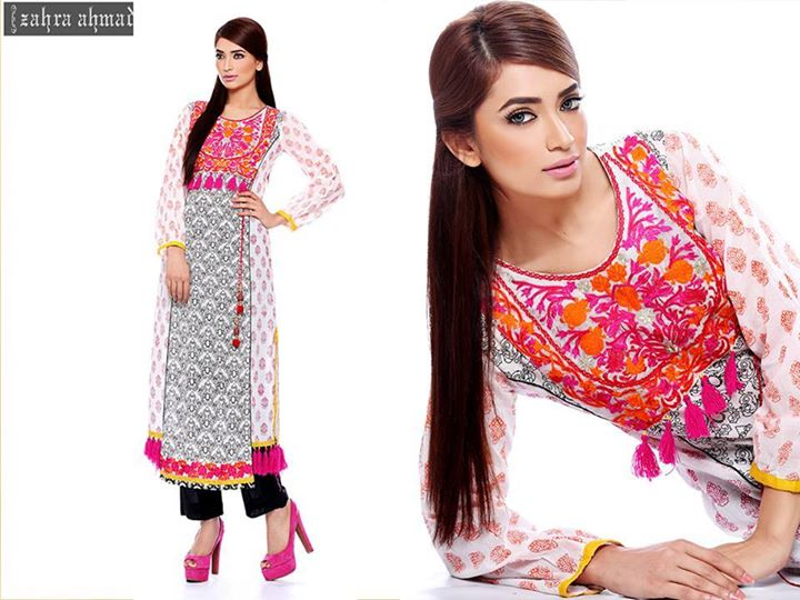 Embroidered winter wear by zahra ahmad