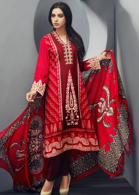 Zeniya Red Winter Shawl Dress By Deepak Perwani