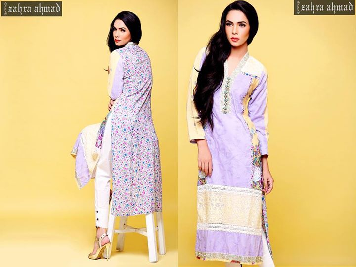 Mauve long shirt by zahra ahmad for winters