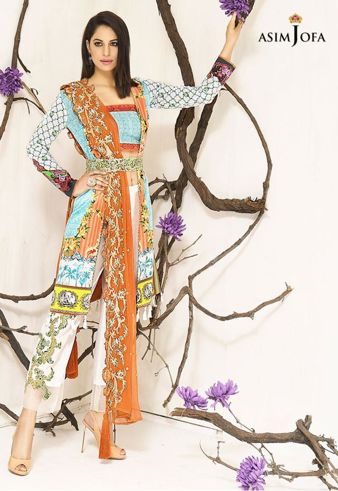 Orange and Blue dress by Asim Jofa for fall