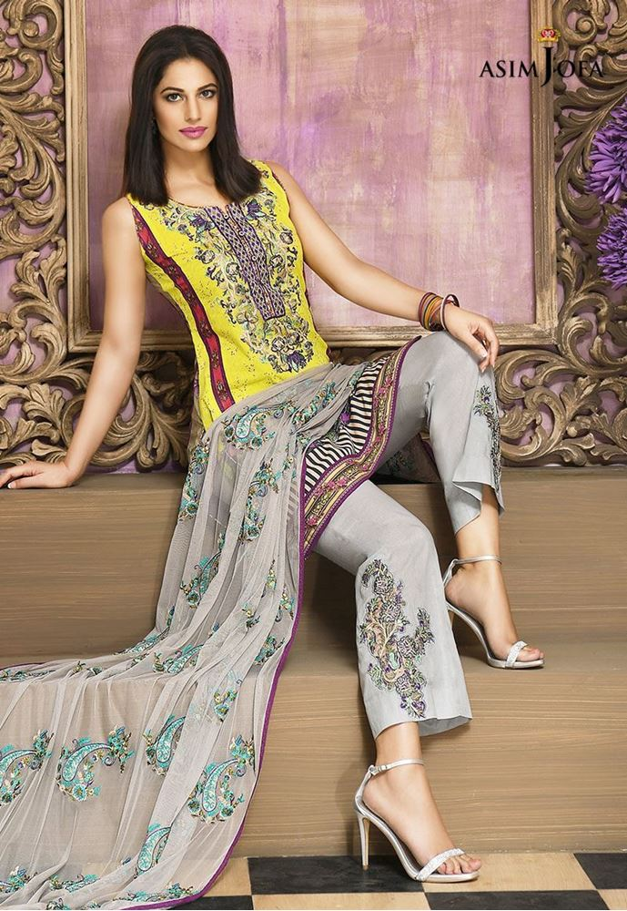 grey and yellow dress by asim jofa for winter