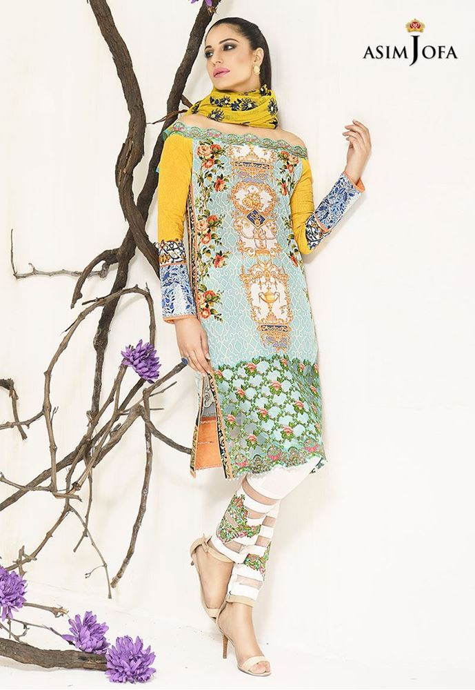 Yellow and Blue dress for winter by Asim Jofa