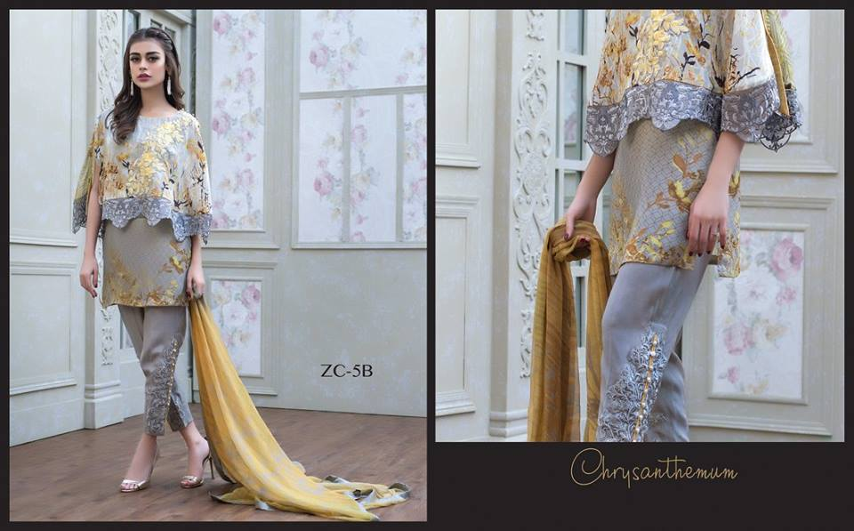 Chrysanthemum for party wear by zainab chottani's silk winter collection