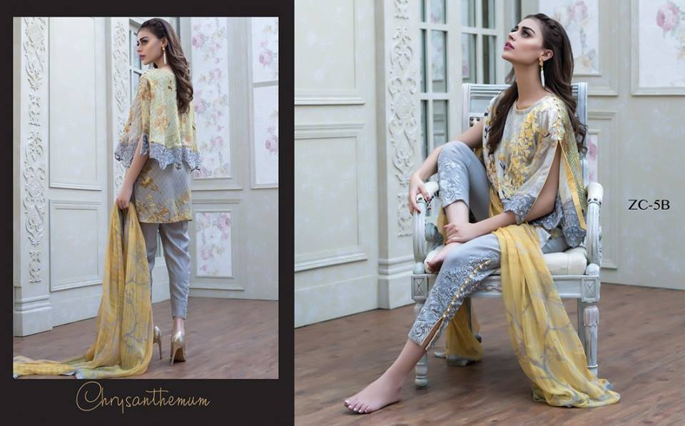 Yellow and Grey dress for party wear by zainab chottani's silk collection