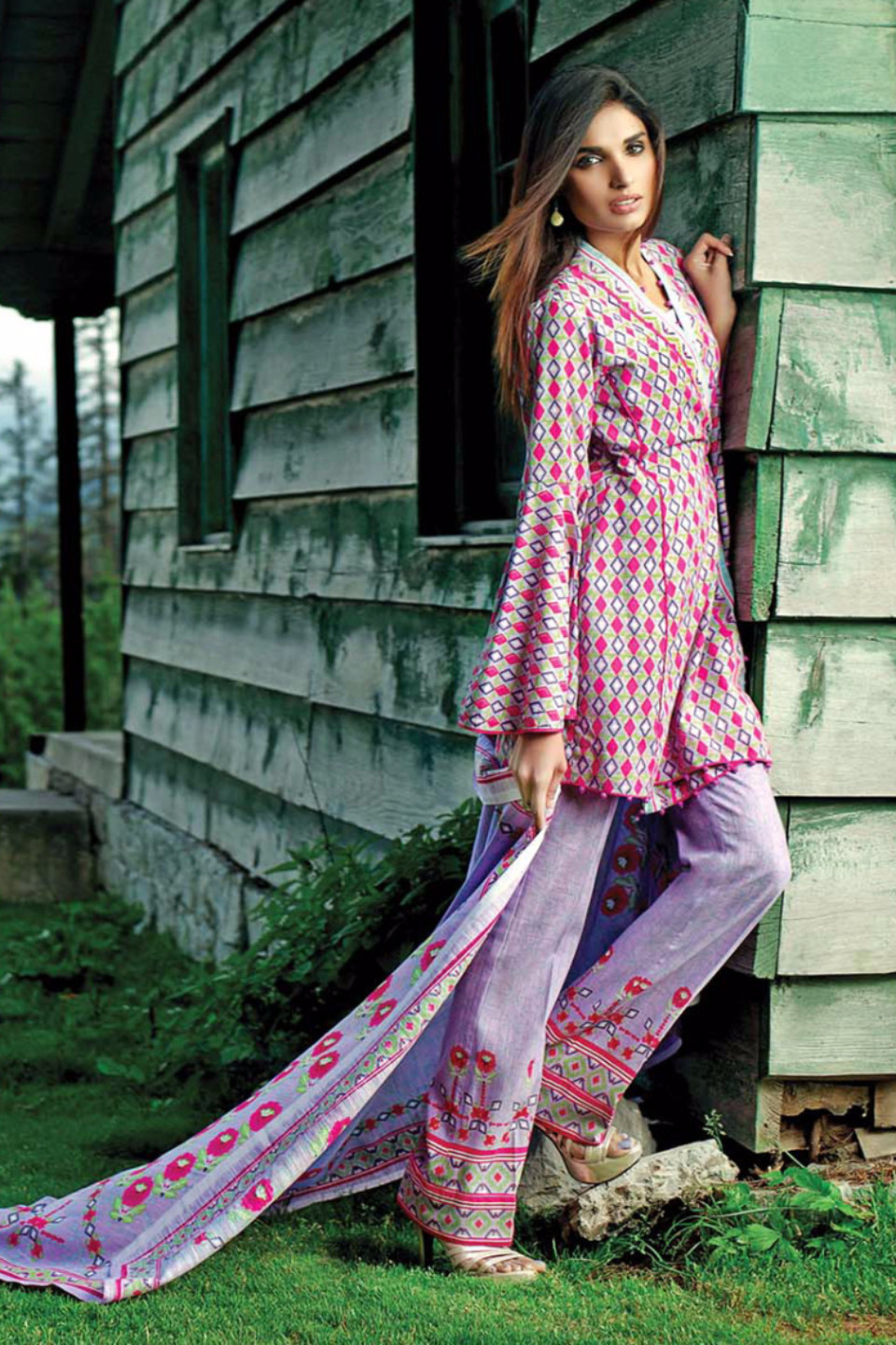 Lilac khaddar suit by gul ahmed for fall