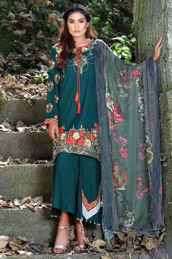 Motifz bottle green embroidered winter party dress